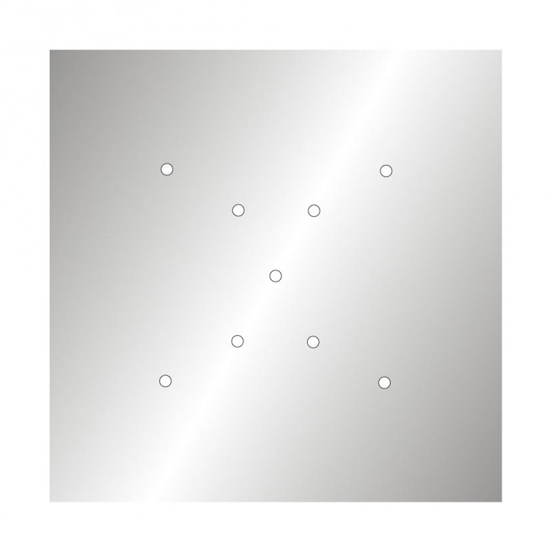 Square XXL Rose-One 9 X-shaped holes and 4 side holes ceiling rose, 400 mm