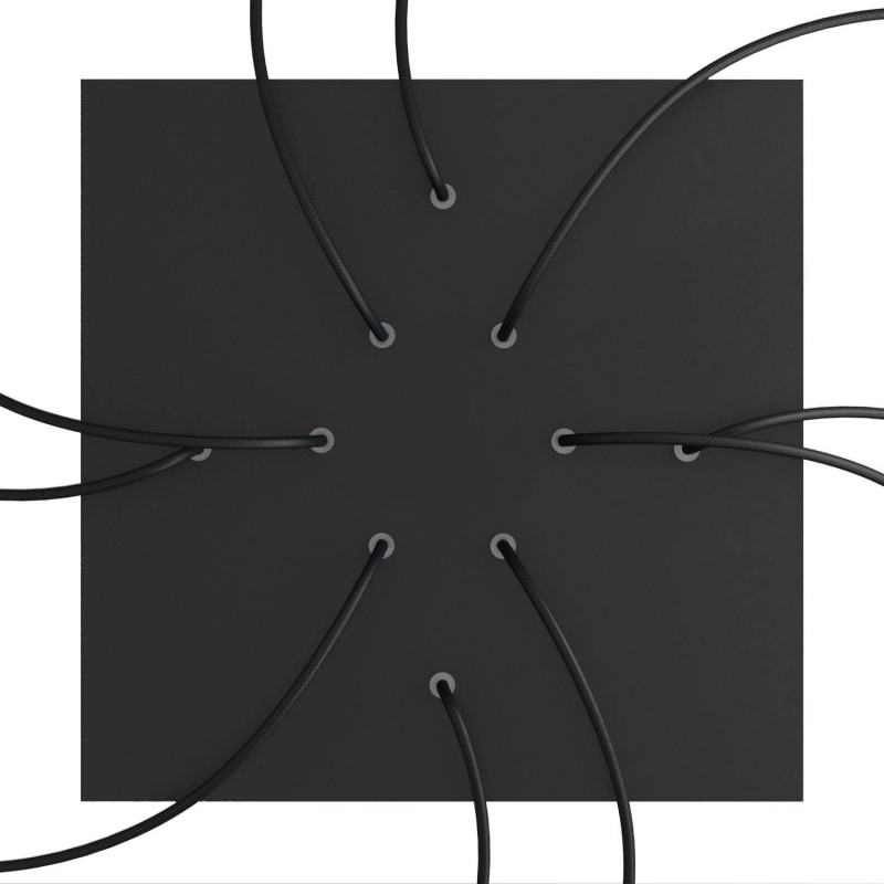 Square XXL Rose-One 10-hole and 4 side holes ceiling rose, 400 mm