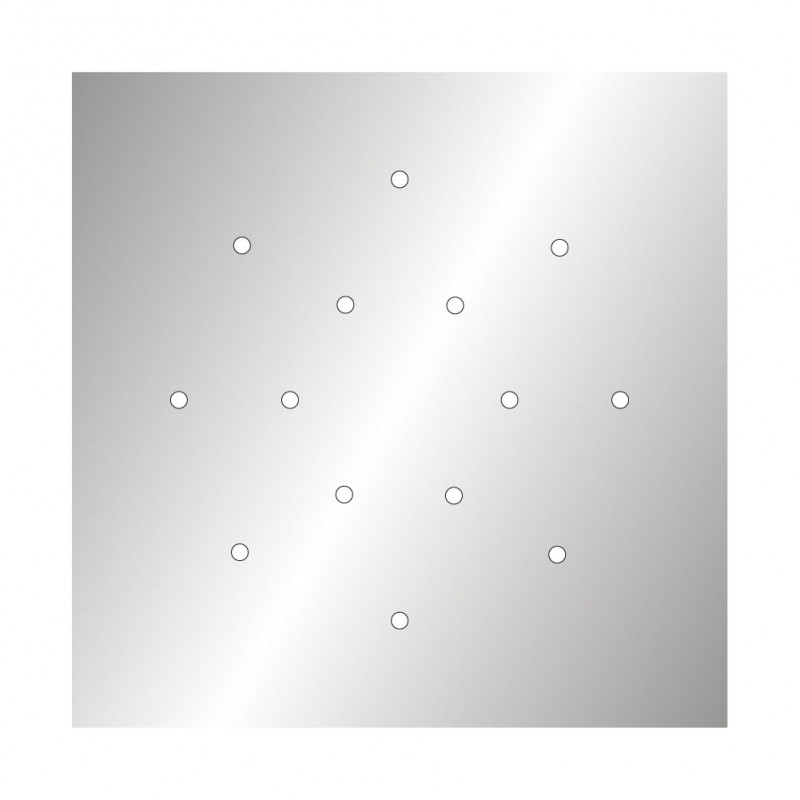 Square XXL Rose-One 14-hole and 4 side holes ceiling rose, 400 mm