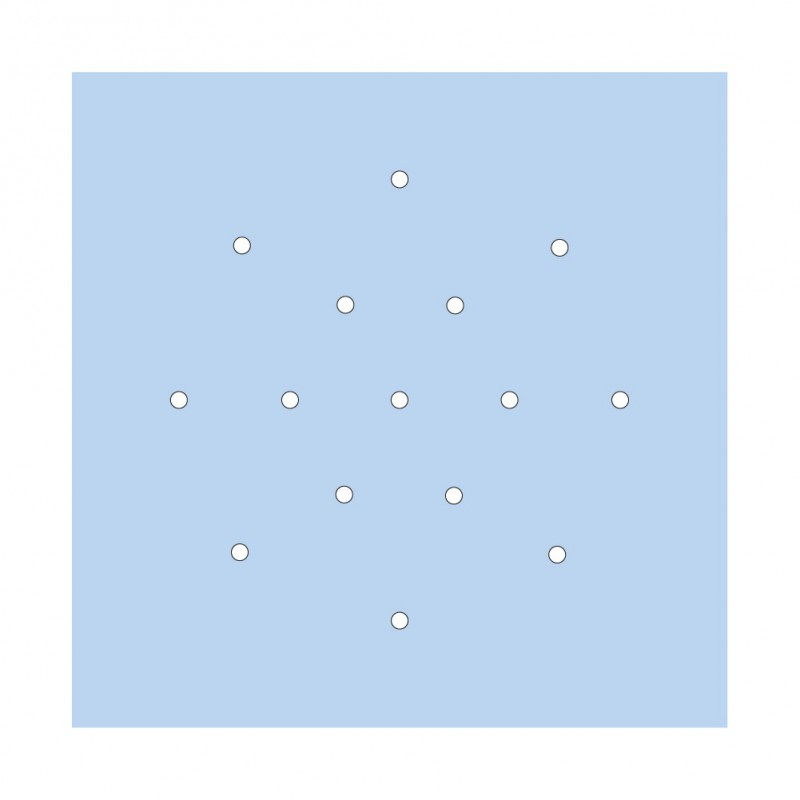 Square XXL Rose-One 15-hole and 4 side holes ceiling rose, 400 mm