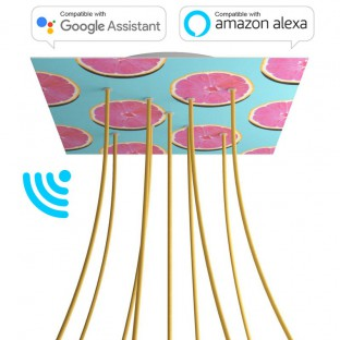 Large Square Smart ceiling rose, 400 mm Panel Rose-One with 9 X-shaped holes - compatible with voice assistants - PROMO