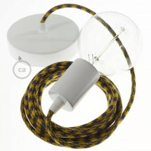 Single Pendant, suspended lamp with Bicolored Golden Honey and Anthracite Cotton textile cable RP27