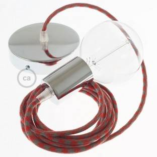 Single Pendant, suspended lamp with Bicolored Fire Red and Grey Cotton textile cable RP28