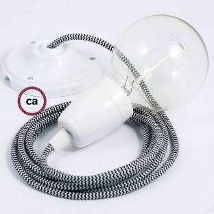 Porcelain Pendant, suspended lamp with ZigZag Black textile cable RZ04