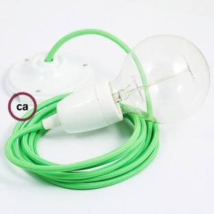 Porcelain Pendant, suspended lamp with Green Fluo textile cable RF06